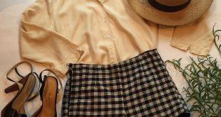 A sweet little spring 50's look! 50's Ivory Silk Blouse Medium $36. 50's Black a...