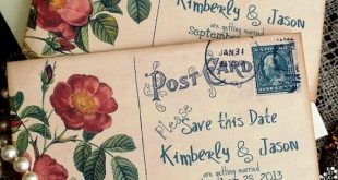 CUSTOM ORDER fo rhannahbeckwith... Vintage Postcard Wedding Save the Date Cards Handmade by avintageobsession on
