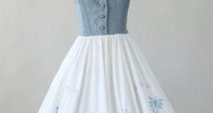 Vintage 1950s Embroidered Cotton Halter Sundress