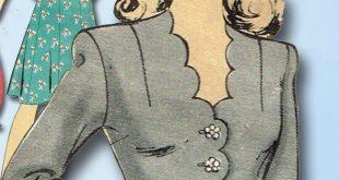 1940s Vintage WWII Peplum Dress 1944 Hollywood Vtg Sewing Pattern Sz 30 B #Holly...