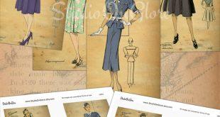 "4 Vintage Fashion Design Sketches, Circa 1940 4x6"" Ephemera for Junk Journals, Scrapbooks, Decoupage, Hang Tags, Card Making, Labels 18057"