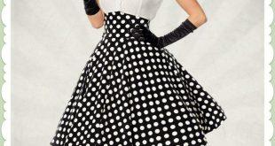 Belsira 50er Jahre Rockabilly Punkte Tellerrock - High Waist - Schwarz Weiß