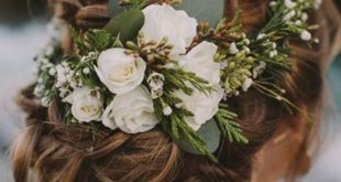 Rustic Vintage Updo Wedding Hairstyle For Long Hair with Flowers and Greenery in...