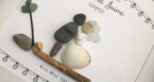 WEDDING SHABBY CHIC: personalised Pebble Picture Gift Art • Sea Glass • Handmade Custom Design • Framed • 2 Sizes Boho Vintage